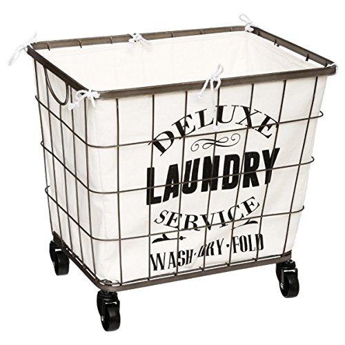 Wäschekorb auf Rollen mit herausnehmbaren Wäschesack - Farbe Creme und Grau