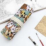 Yiding Trousse d'école papeterie vintage Dessin animé Chat sur toile Stylo Rouleau de rideau Trousse à crayons cat 48 holes