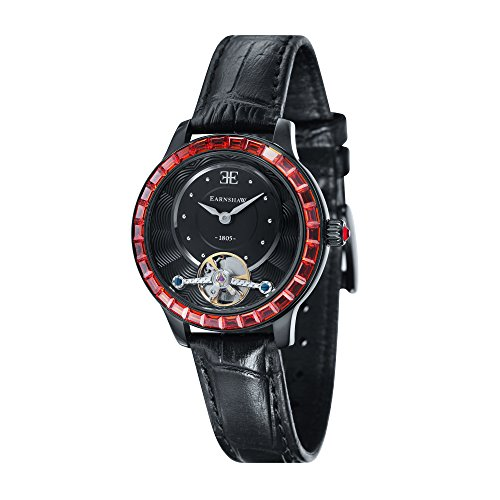 Thomas Earnshaw Girl's 'LADY AUSTRALIS' Mechanical Hand Wind Stainless Steel and Leather Dress Watch, Color Black (Model: ES-8057-02)