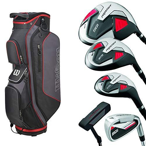 Wilson Pro Staff SGI Komplettset/Golfset für Herren, Rechtshand, Graphitschäfte, Cartbag in Grau/Schwarz/Rot | Inkl. 3 Wilson Staff TD Long Golfbälle