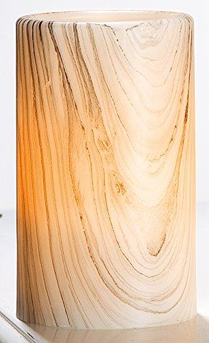 Preisvergleich Produktbild GILDE Echtwachs LED Kerze im Holzstil, 10x7 cm