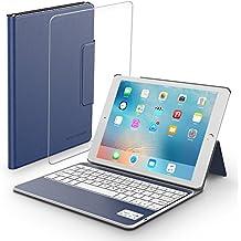 iPad Carcasa-Carcasa-teclado con teclado bluetooth extraíble y protector de pantalla de cristal templado, Vastdon carcasa ligera con stand y luz para nuevo Apple iPad 9,7 pulgadas 2017 Tablet (Azul)