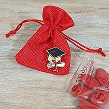 Sindy Bomboniere Sacchetto Laurea Rosso con tiranti con Tocco e Pergamena  in Legno b3a440594725