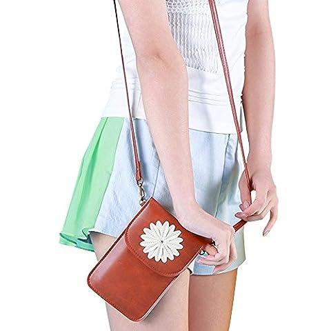 Contever® Retro Chrysantheme-Muster Handy-Beutel Tasche mit Berührungssensitiver Bildschirm für Telefon