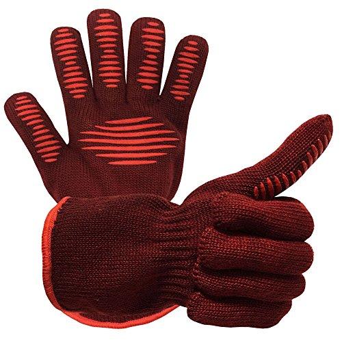 BBQ Grillen Kochhandschuhe, 932 ℉ Extreme Hitzebeständige Handschuhe, Grill Ofen Sicherheitshandschuhe Zum Kochen, Backen, Barbecue Topflappen - 1 Paar
