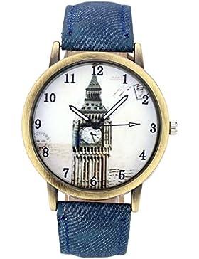 JSDDE Uhren,Vintage London Big Ben Armbanduhr Bronze Gehäuse Damen Uhren Denim-Gewebe-Lederband Analog-Quarz-Uhr...