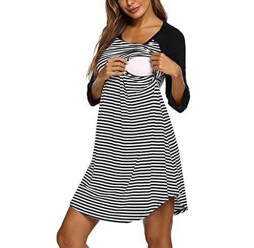 Jimmackey pigiama camicia da notte premaman da abito donna morbido in cotone 3/4 manica lunga a strisce vestito abiti da notte per parto ospedale allattamento