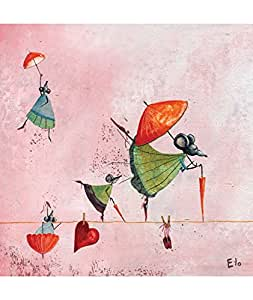 Lilipinso-Tableau Les funambules by Manuela Magni (30 x 30 cm) - Rose