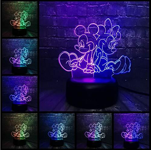 Cartoon Acryl Mickey Minnie Mouse LED USB Ladung 7 Mischfarbe Nachtlicht Raum Schreibtisch Dekor Stimmung Lava Kindertagesgeschenk (Mickey-mouse-projektor)