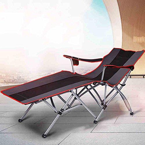 HAIZHEN ZHAIZHEN Chaise Lounge Gravity Lit se pliant de camp de tuyau d'acier de chaise de salon de Siesta de lit pour le camping de bureau, le patio et la piscine pour cour extérieure