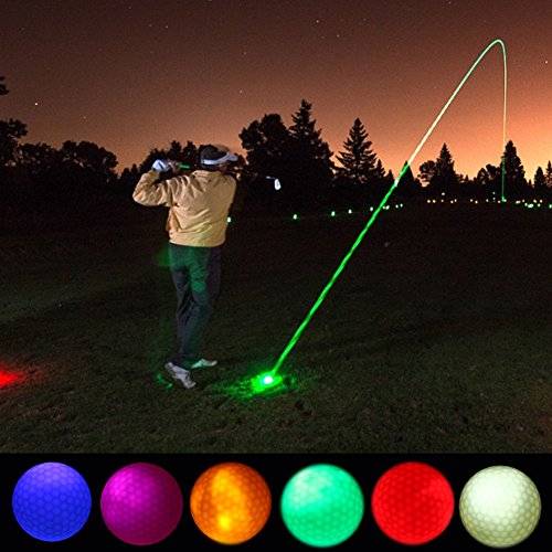 Vbestlife 4/5/6 Night Golf Balls LED Beleuchtung Golf Balls Langlebig Wiederverwendbar Bright Night Glow Elektronische Golf Ball für Dark Night Sport Praxis Training, White+Pink+Yellow+Green+Blue+Red