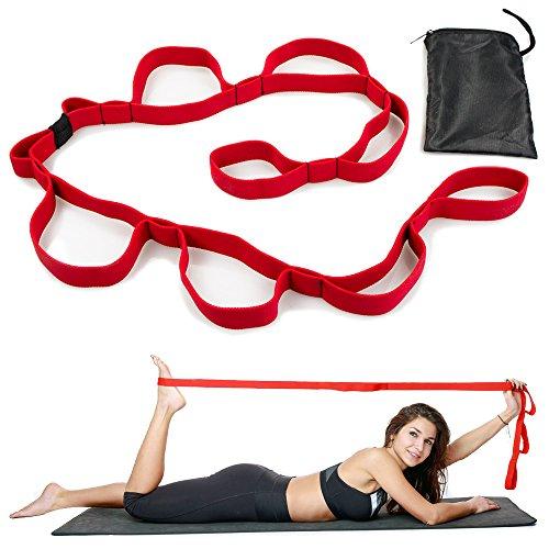 Fitness Loop Stretchband Trainingsband mit Schlaufen für Flexibles aufwärmen & Dehnen inkl. Tragetasche | Damen Sportband Fitnessband