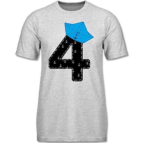 Geburtstag Kind - 4. Geburtstag Pirat Schiff - 116 (5-6 Jahre) - Grau meliert - F140K - Kinder T-Shirt für (Jungen Piraten Shirt)
