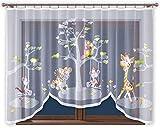 Promag Vorhang Gardine mit Kräuselband Kinderzimmer Kindergardine Junge Weiß 300 cm Extra Breit Dschungel Motiv Scheibengardine Kurzgardine Transparent Kurz Zoo Durchsichtig Universalband