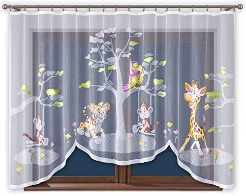 ne mit Kräuselband Kinderzimmer Kindergardine Junge Weiß 300 cm Extra Breit Dschungel Motiv Scheibengardine Kurzgardine Transparent Kurz Zoo Durchsichtig Universalband ()