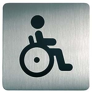 Durable 495323 Plaque d'Information Pictogramme Carré 150 x 150 mm en Acier Brossé Inoxydable WC Toilettes Handicapes Personne à Monilite Reduite