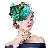 Edith qi Femmes Cappello di Cerimonia, Fascinators con Retro Fiore di Peacock Piuma Sinamay Net con Clip di Capelli per Accessori di Nuziale del Cocktail
