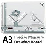 A3 Zeichenplatte, Preciva A3 Zeichenbrett DIN A3 Zeichentisch mit Zubehör 51 x 36,5 CM