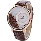Sanwood Women's Rhinestones Faux Leather Wrist Watch