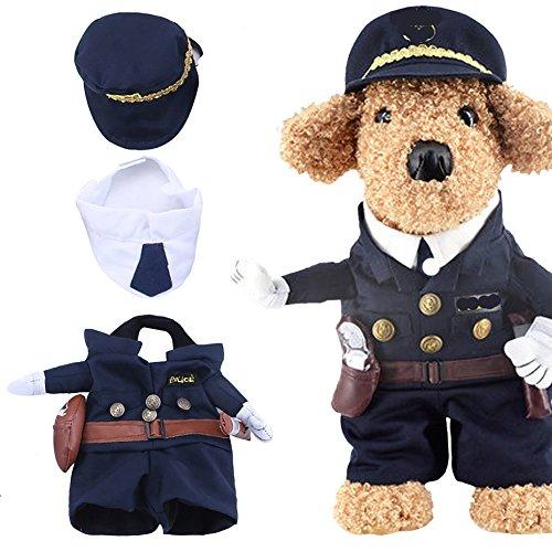 Yarssir Haustier Polizist Kostüm Cop Kleidung Cosplay Hund Katze Halloween Anzug (Cops Kostüme Halloween)