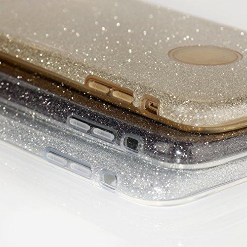 Glitzer Schutzhülle für iPhone 5 / 5S / SE EGO ® Handyschmuck diamant Kopfhörerbuchse Stecker Deko-Stöpsel Back Case Bumper Glänzend Transparente Silikon TPU Glamour Handy Tasche Strass Hülle, Silber  Pink