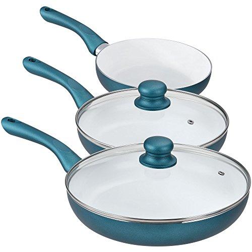 [pro.tec] Keramik Pfannenset 5-tlg. (grün) Pfanne Bratpfanne Induktion Set Grillpfanne