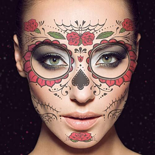 Frcolor Temporäre Gesichtstätowierung, Floral Tag der Toten Sugar Skull Temporäre Gesichtstätowierung Kit, 2St