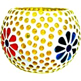 Merarki Glass Tea Light Candle Holders Made With Mosaic Style Design For Festival Season I Diya For Diwali Pack Of One