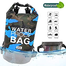 Idefair Wasserdichter Packsack, Schwimmender Trockenrucksack Strandtasche Leichter Trockensack für den Strand, Bootfahren, Angeln, Kajakfahren, Schwimmen, Rafting, Camping 10L 20L (Blau, 20L)