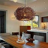 Lamps LED Living Room, Schlafzimmer Licht, Deckenleuchte Natural Rattan Pendelleuchte Vogelnest Form Country rustikalen Stil Cafe Hängendes Licht 0 cm, einfache atmosphärische Innenbeleuchtung,100 cm