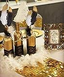 JeVenis 41 PCS Splendide Piume Nere e Dorate di Piume di Piume di Piume collane di Perle Bianche Perline per la Decorazione della Torta Nuziale degli Anni '20 Decorazioni da Tavolo a Tema Gatsby