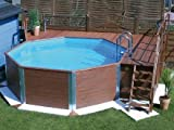 Massivholz-Swimmingpools Korsika - AKTION: inkl, Einhängeleiter gratis - Außenmaß: 376 x 476 cm, Innendurchmesser: 397 cm, Wasserkapazität: 11,4 m³, Sandfilteranlage MEDI: vorhanden