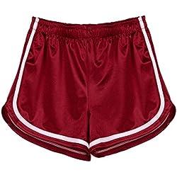 SHOBDW Mujeres de Moda Elásticos de Cintura Alta Correas de Yoga a Rayas Pantalones Deportivos Pantalones Cortos Pantalones Brillantes Polainas (S, Vino Rojo)