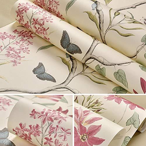 Presentimer Rustikale Vintage Floral Tapeten Pastoralen Stil Blumen und Vögel Grüne Vlies Tapeten Schlafzimmer Wohnzimmer Hintergrund Tapeten Art Deco Beige
