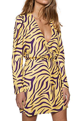 IVYREVEL Damen Woven Wrap Mini Dress Kleid, Mehrfarbig (Purple/Yellow 337), Herstellergröße:38 - Cross-front Mini Dress
