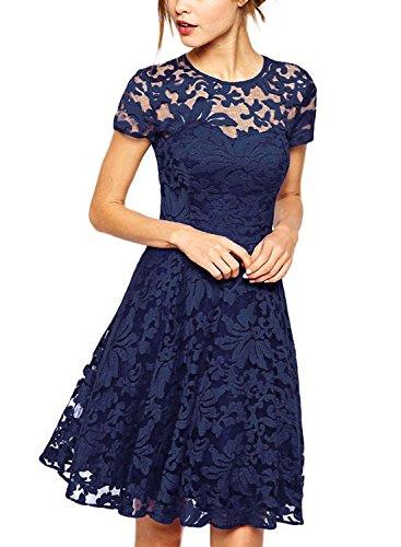 Vestidos de princesa de manga corta de cuello redondo de encaje casual de verano de las mujeres vestido de cóctel vestido azul real S