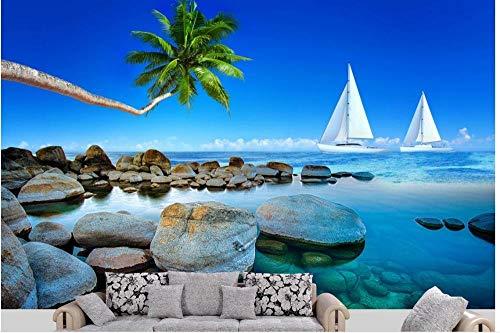 fototapete 3d effekt xxl wand dekoration vlies Tapete moderne dekoration wanddeko Wandbilder430cmx300cm Landschaft Strandboot Kokospalme