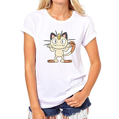 Pokemon Meowth Persian Normal Front Damen T-Shirt Weiß