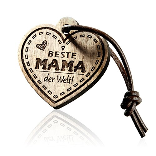 FORYOU24 Schlüsselanhänger Herz mit Gravur aus Holz - Beste Mama