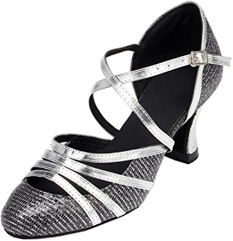 ecdfd235455 MINITOO Ladies TH131 Closed Toe Cross Strap Silver Glitter Glitter Glitter  Wedding Ballroom Latin Taogo Dance Pumps Shoes 6 UK Parent B00THXUMOU 49318a