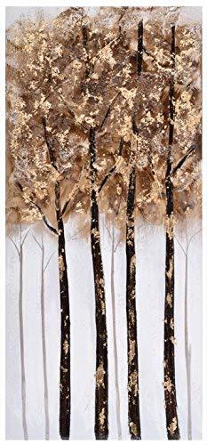 Home Selections Doré arbres peints à la main 3d murale sur toile. Grande moderne Photo sur toile, prêts à poser sur toile Décoration murale.