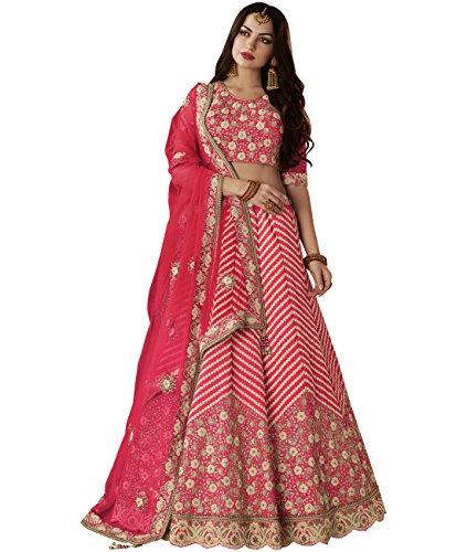 Indian Ethnicwear Bollywood Pakistani Wedding Pink A-Line Lehenga Semi-stitched-PRF9092