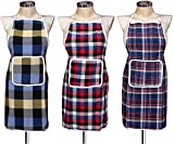 MAHIRA CREATIONS Waterproof Check Pattern Cotton Kitchen Apron with Front Pocket - Set of 3 Aprons