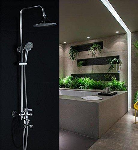SUN-Soild ottone pioggia di lusso del miscelatore doccia insieme combinato di 3 Impostazione Full-Chrome Sistema Bagno Doccia con barra di scorrimento