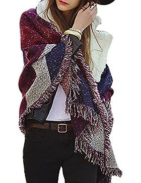 Hrph Nueva manera de las mujeres de la tela escocesa de la bufanda caliente Mujer con flecos de lana de cachemira...