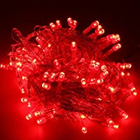 Generic – Guirnalda luminosa LED – 10m, 100 luces – exterior interior – de color rojo