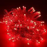 Generic Catena di 100 luci a LED, per interni ed esterni, colore rosso, 10 m