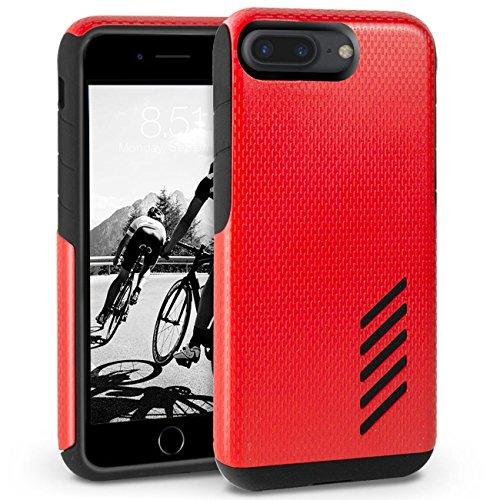 iPhone 8 Plus Hülle, Orzly® Grip-Pro Case für das iPhone 8 Plus / iPhone 7 Plus (5.5 ZOLL Version) – Langlebige & superleichte Schutzhülle / Handyhülle mit zwei getrennten Schichten für besseren Halt  ROT GripPro für iPhone 7 PLUS