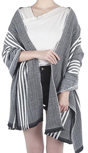 Feinzwirn Leira - großes Schultertuch Schal/Tuch mit trendigem Farb-/Mustermix (White-Black) - White Plaid Schal