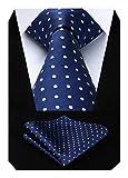 Hisdern Dot Floral Wedding Tie Panuelo para hombres Corbata y bolsillo cuadrado azul...